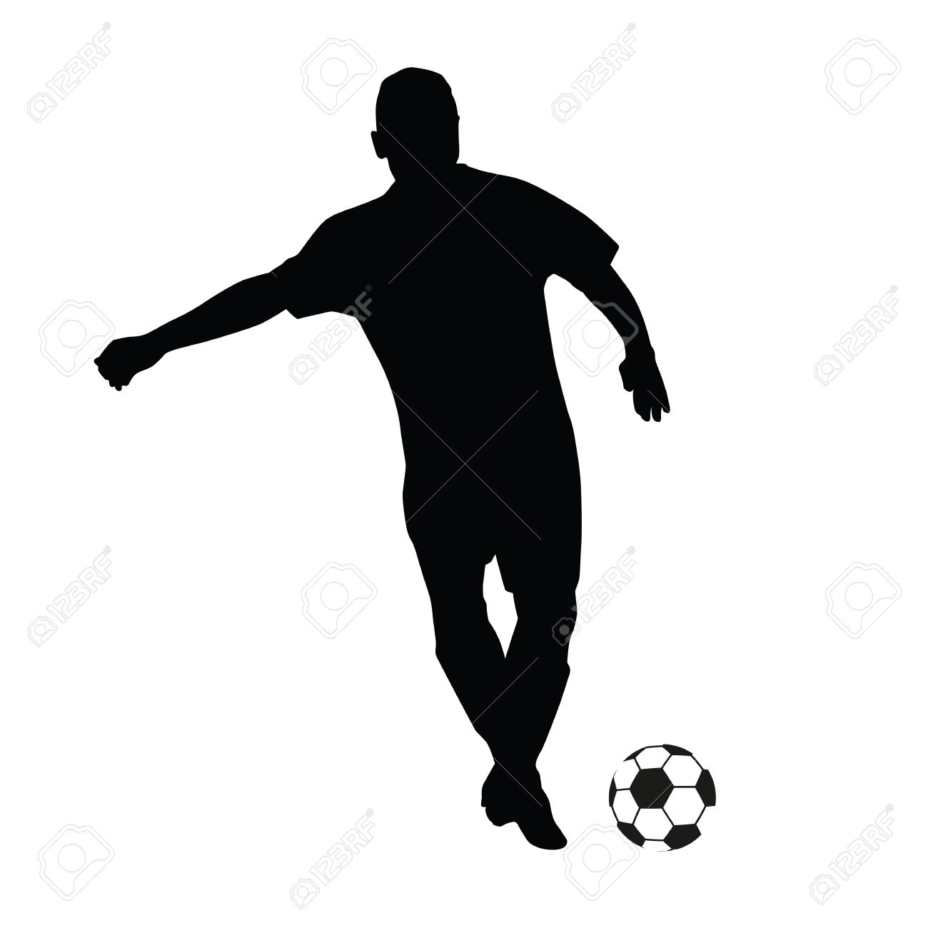 Soccer Player Vector Silhouette Running Football Player Royalty