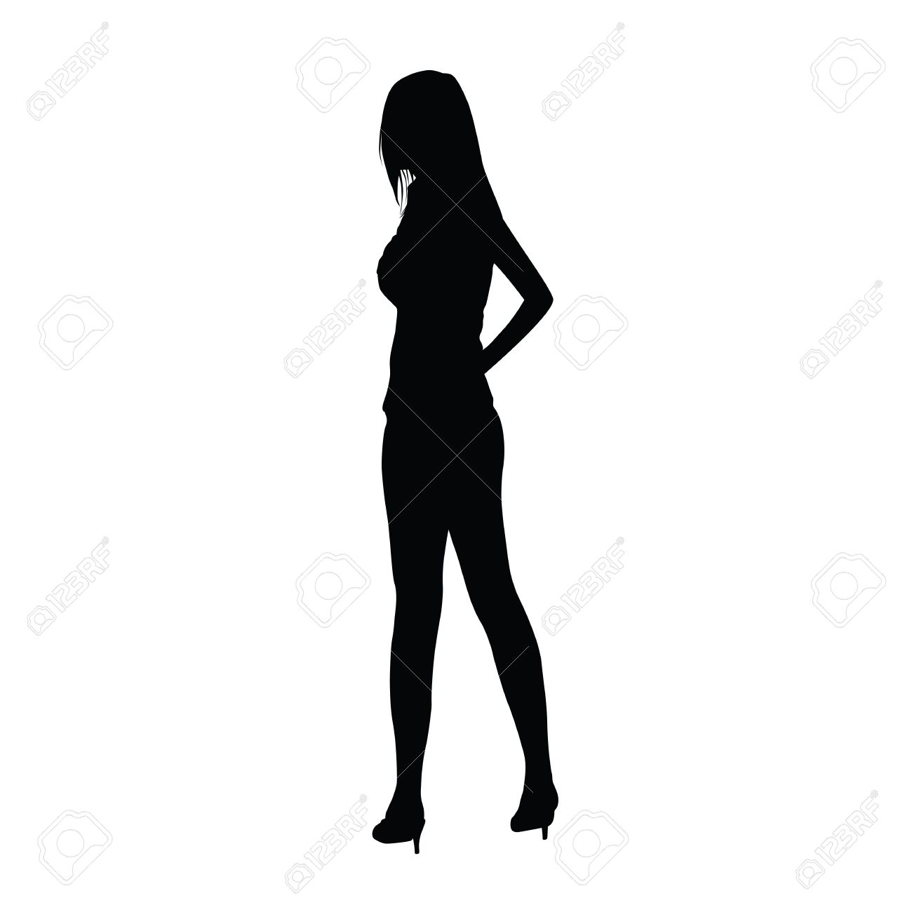 Fashion style Standing Woman silhouette for girls