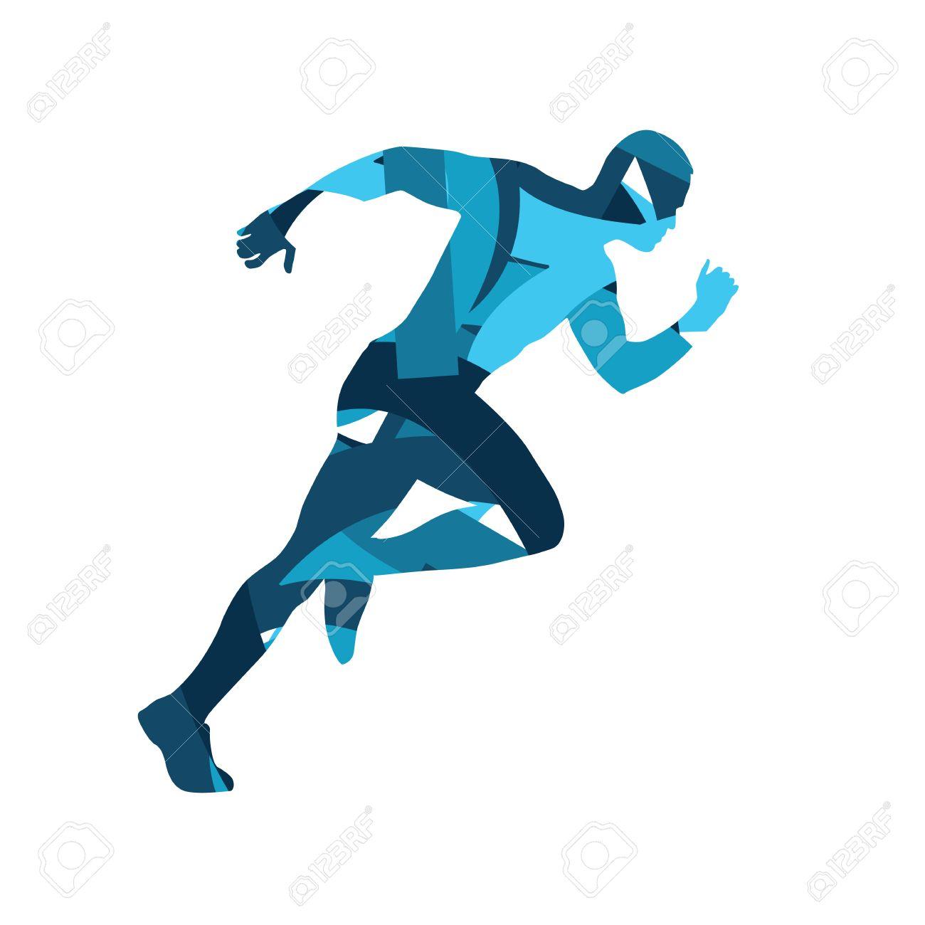 abstract blue vector runner running man vector isolated rh 123rf com runner vector free runner vector icon