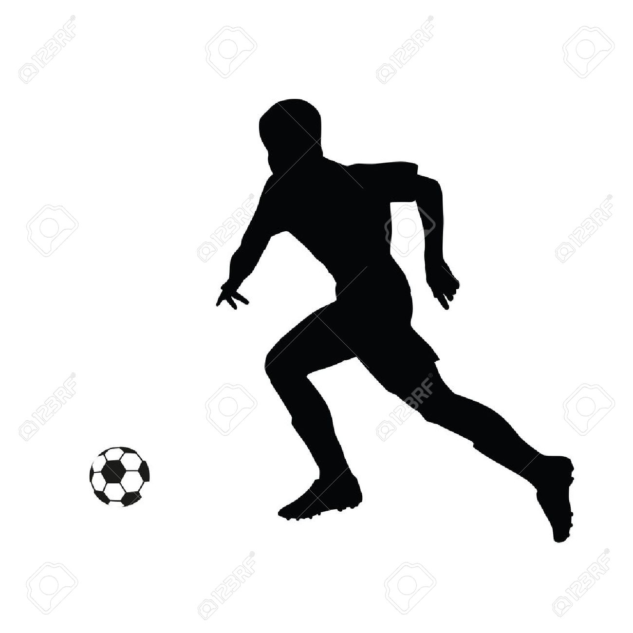 Running Soccer Player Vector Silhouette Footballer Running For
