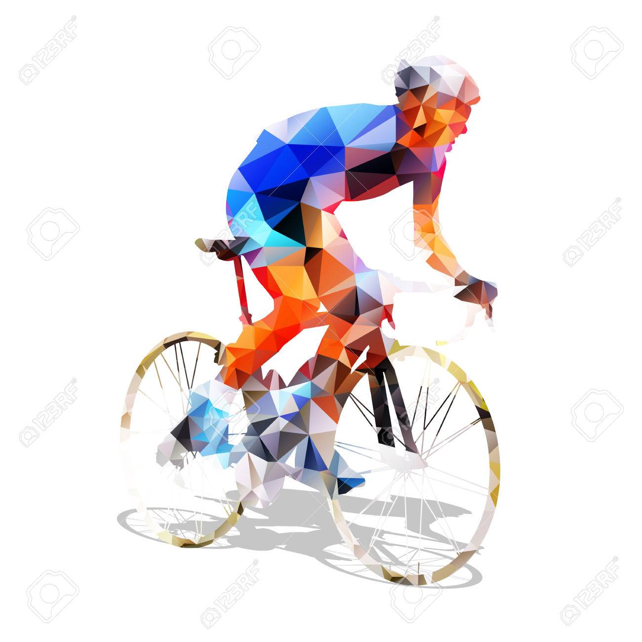 Cycling. Abstract geometrical road cyclist on his bike. Abstract polygonal cyclist - 61287351