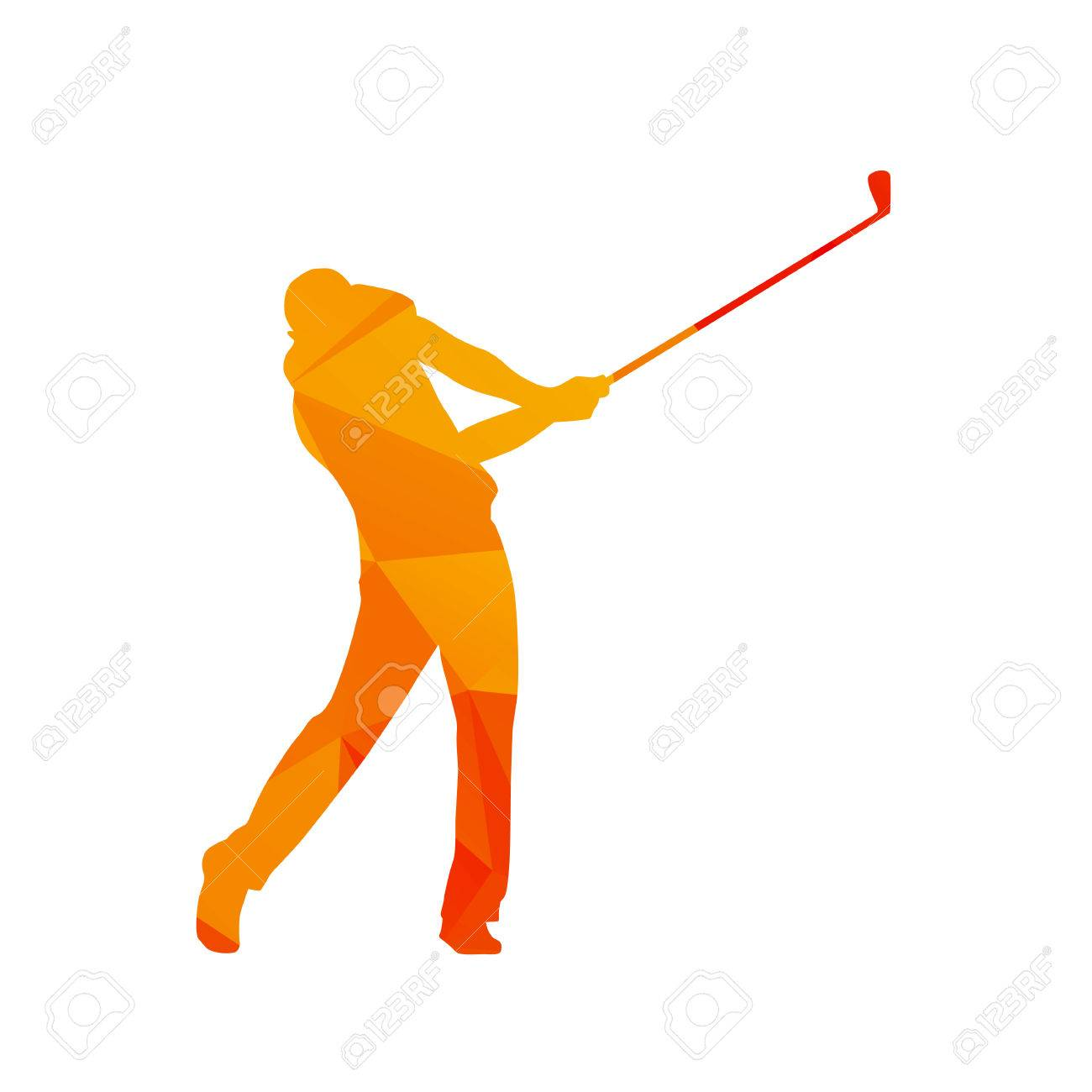 Polygonal Golf Player Abstract Orange Isolated Vector Golfer