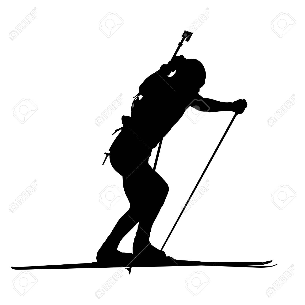 Biathlon Man Running Vector Isolated Silhouette Winter Sports Icon Cross Country Skiing Stock