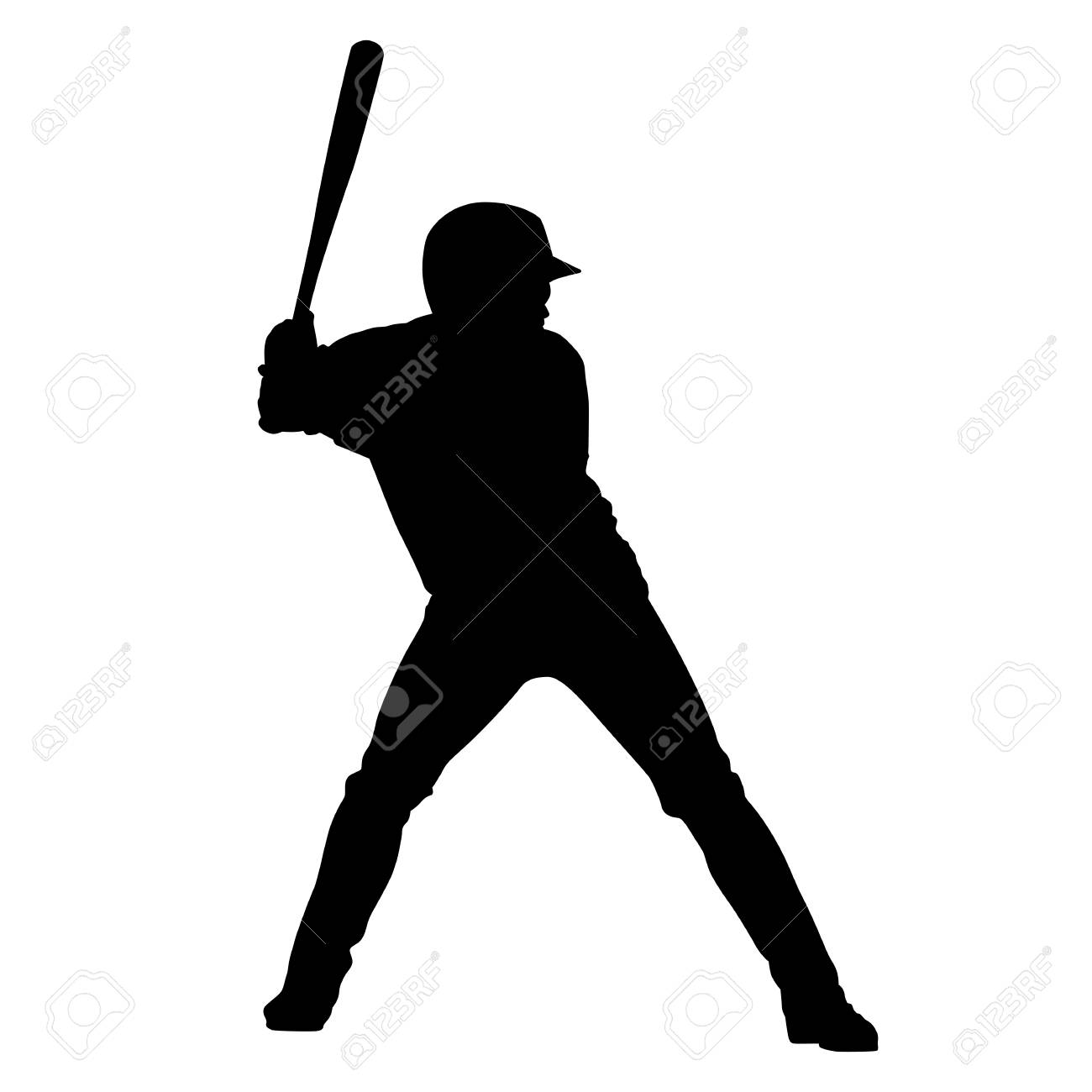 baseball player holding bat vector silhouette royalty free cliparts rh 123rf com Baseball Batter Silhouette Baseball Cap Vector