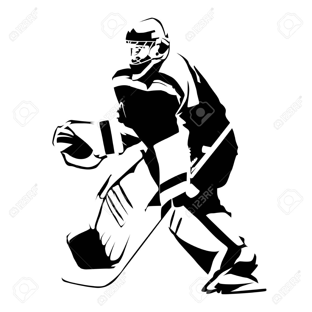 Ice Hockey Goalie Abstract Vector Silhouette Royalty Free Cliparts