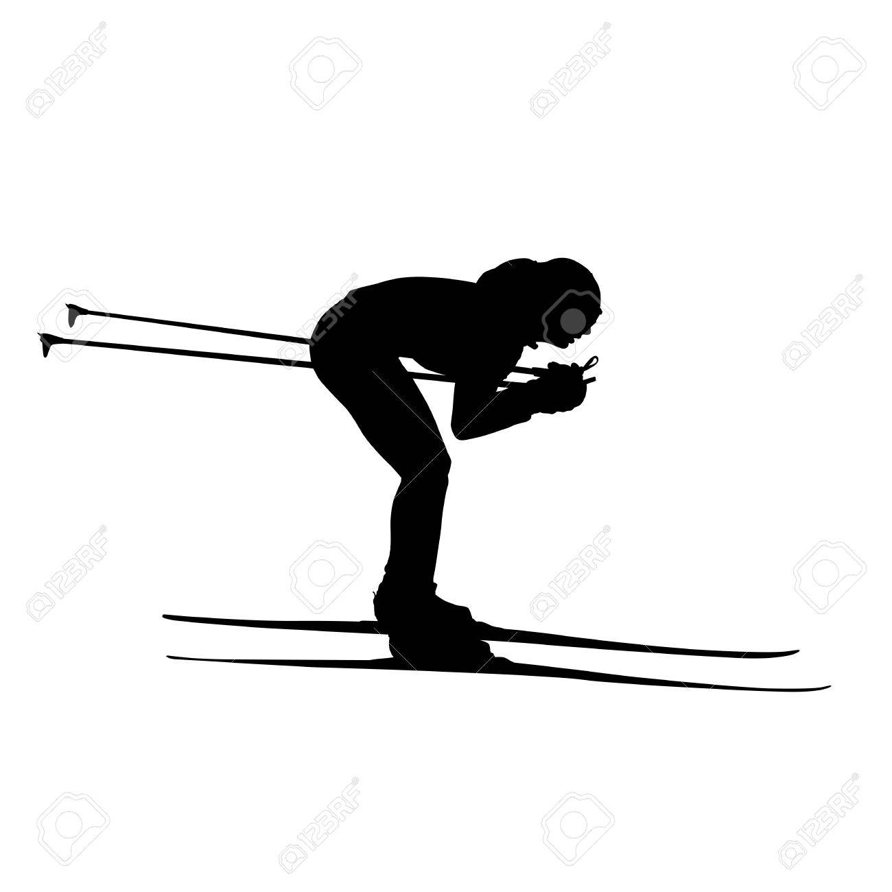 Cross Country Skiing Downhill Woman Or Girl Vector Silhouette Stock
