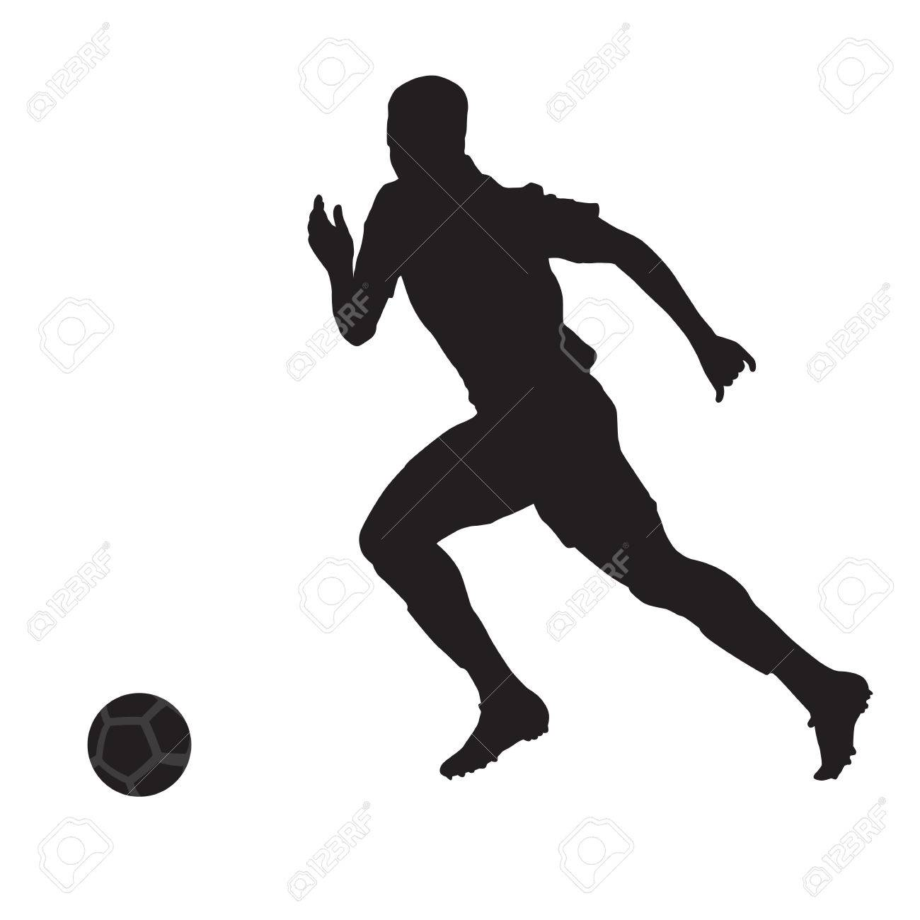 running soccer player vector silhouette side view royalty free rh 123rf com female soccer player vector soccer player vector silhouette