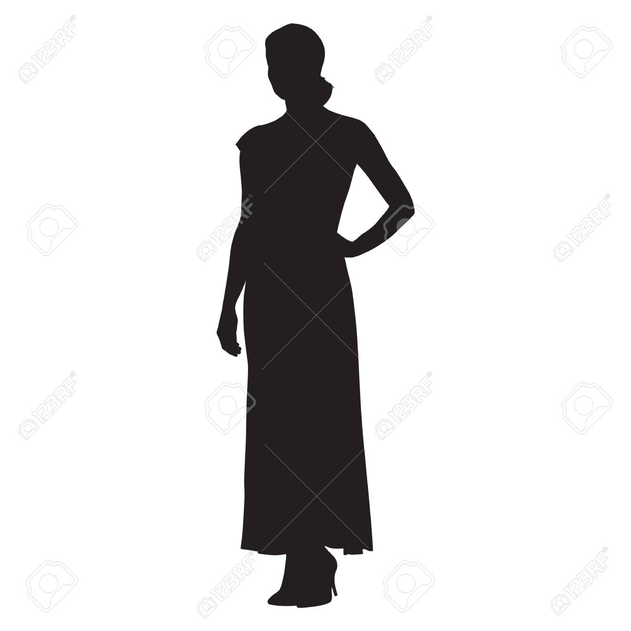 Silueta de mujer con vestido largo