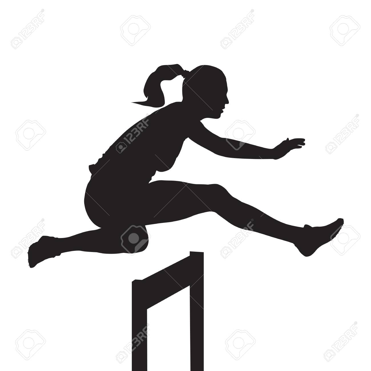 Woman jumping and running over hurdles, hurdle race, vector silhouette - 79575388