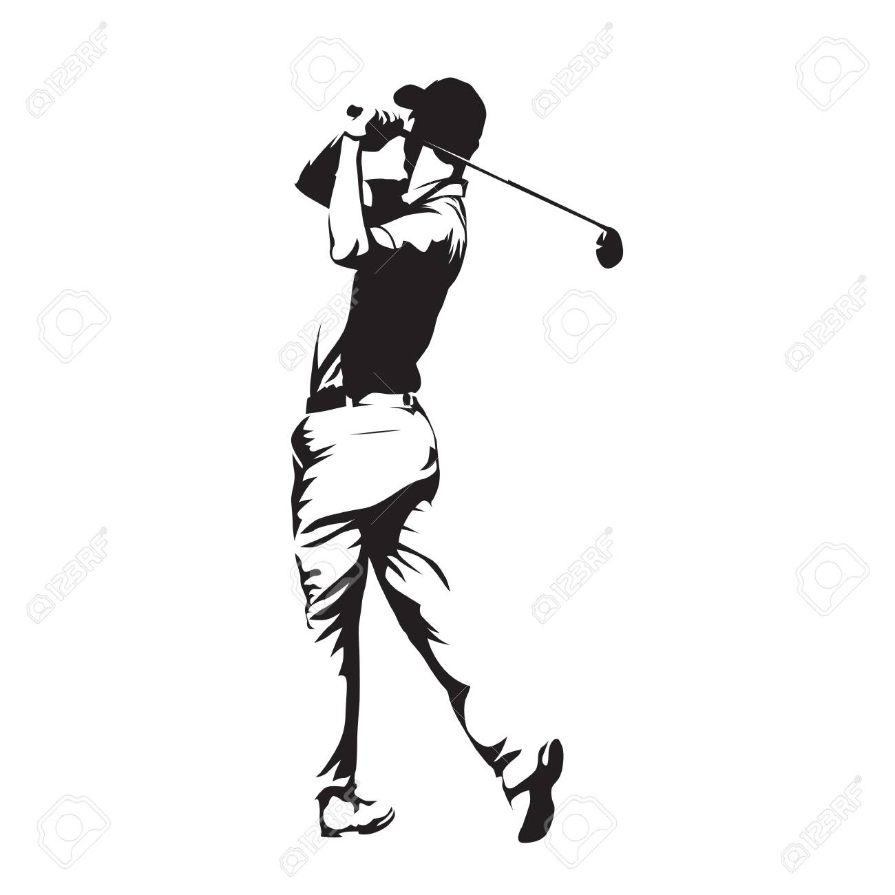 Golf player, abstract vector silhouette - 80710483