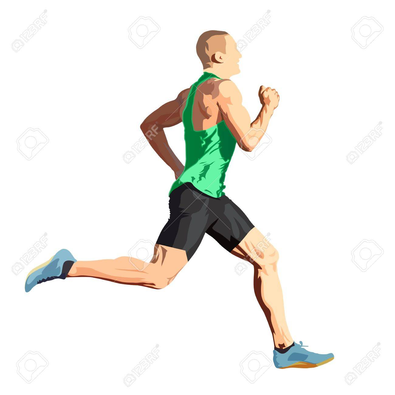 Running man in green shirt, isolated vector illustration, side view - 80951580