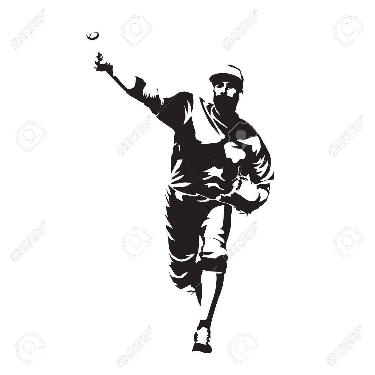 pitcher throwing ball baseball player abstract vector silhouette rh 123rf com Flaming Baseball Vector Baseball Bat Vector Silhouette