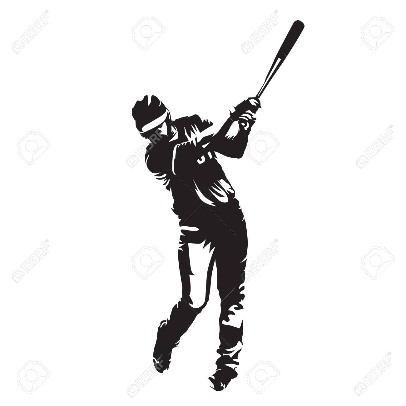 baseball player batter abstract vector silhouette front view rh 123rf com Baseball Player Batter Clip Art victor baseball bats