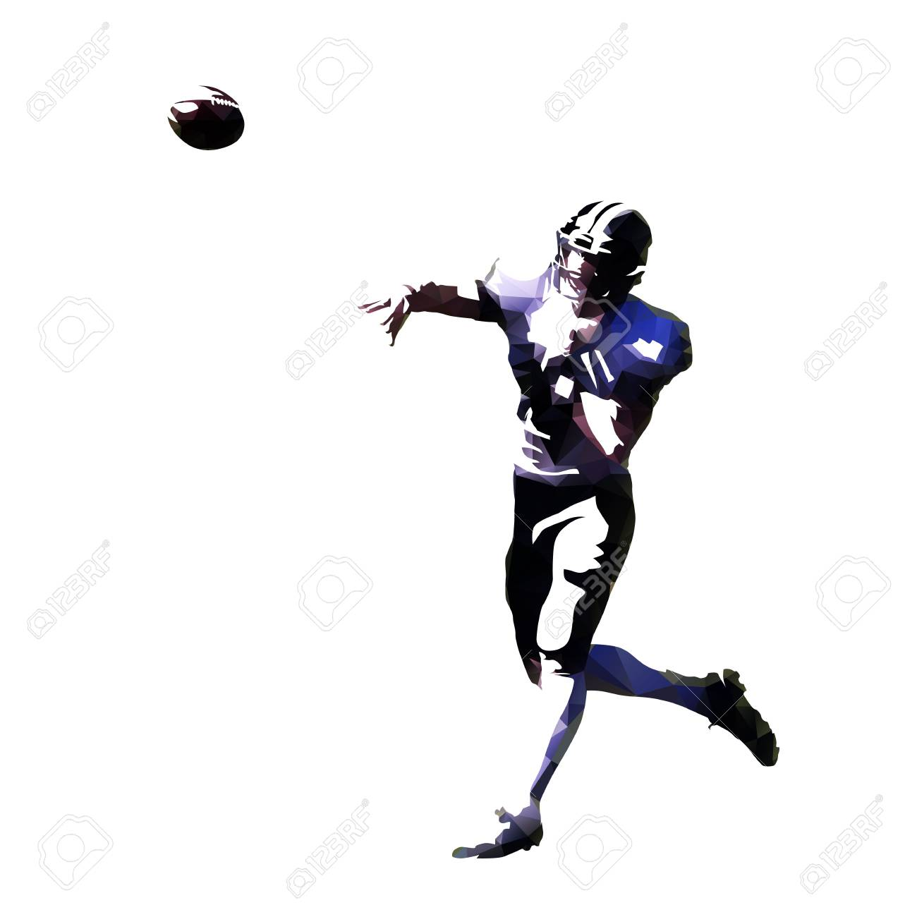 American Football Player Throwing Ball Abstract Geometric Vector