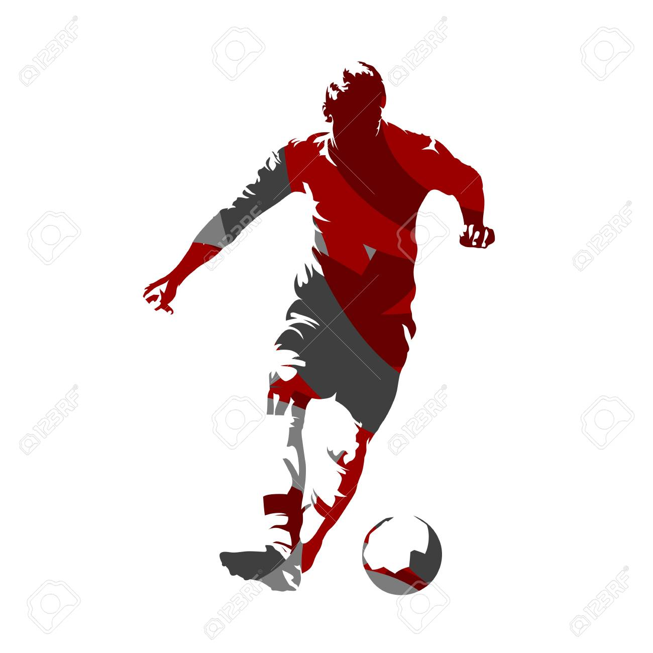 Soccer Player With Ball Abstract Vector Silhouette Royalty Free