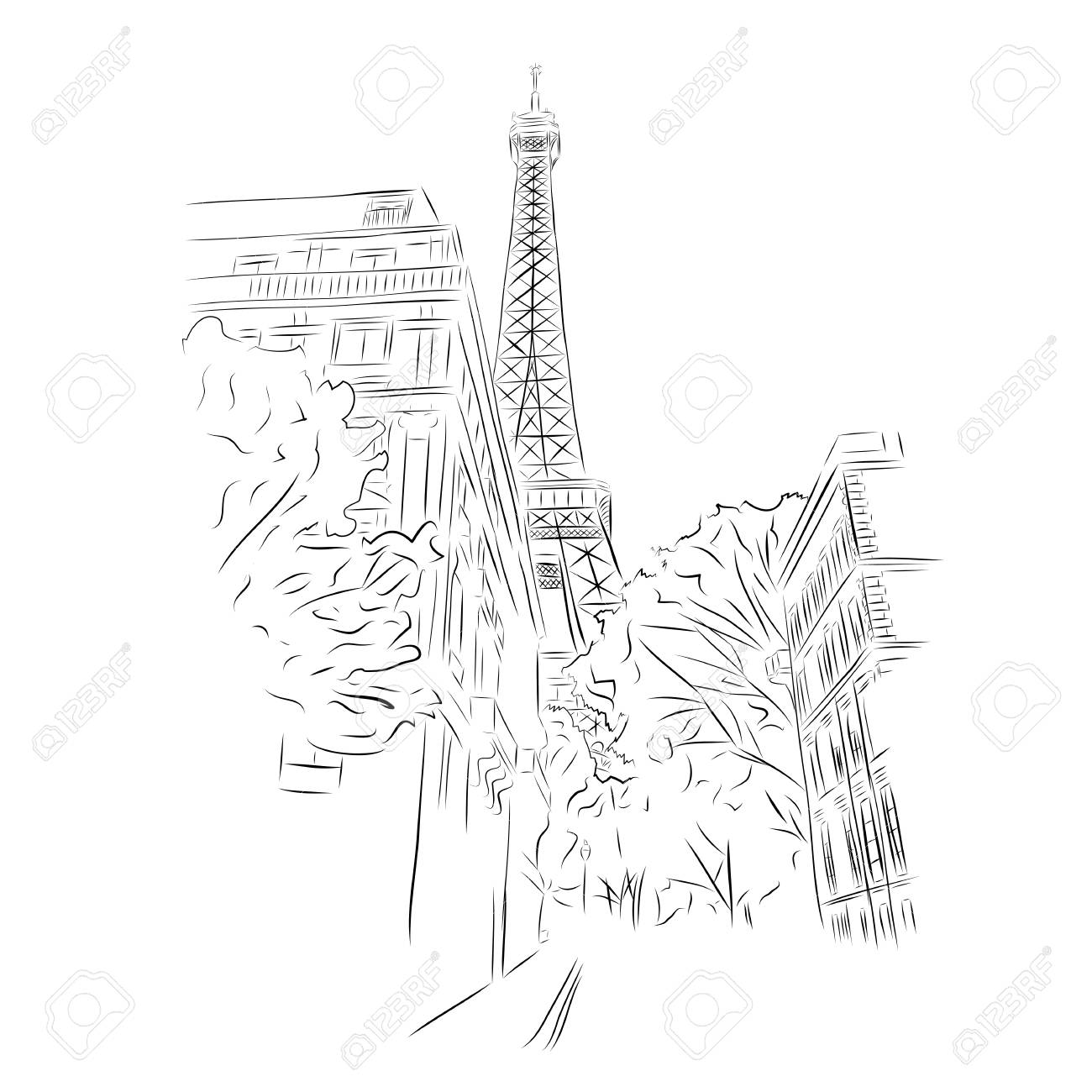 View Of Eiffel Tower From Streets Of Paris France Black And Royalty Free Cliparts Vectors And Stock Illustration Image 89504627