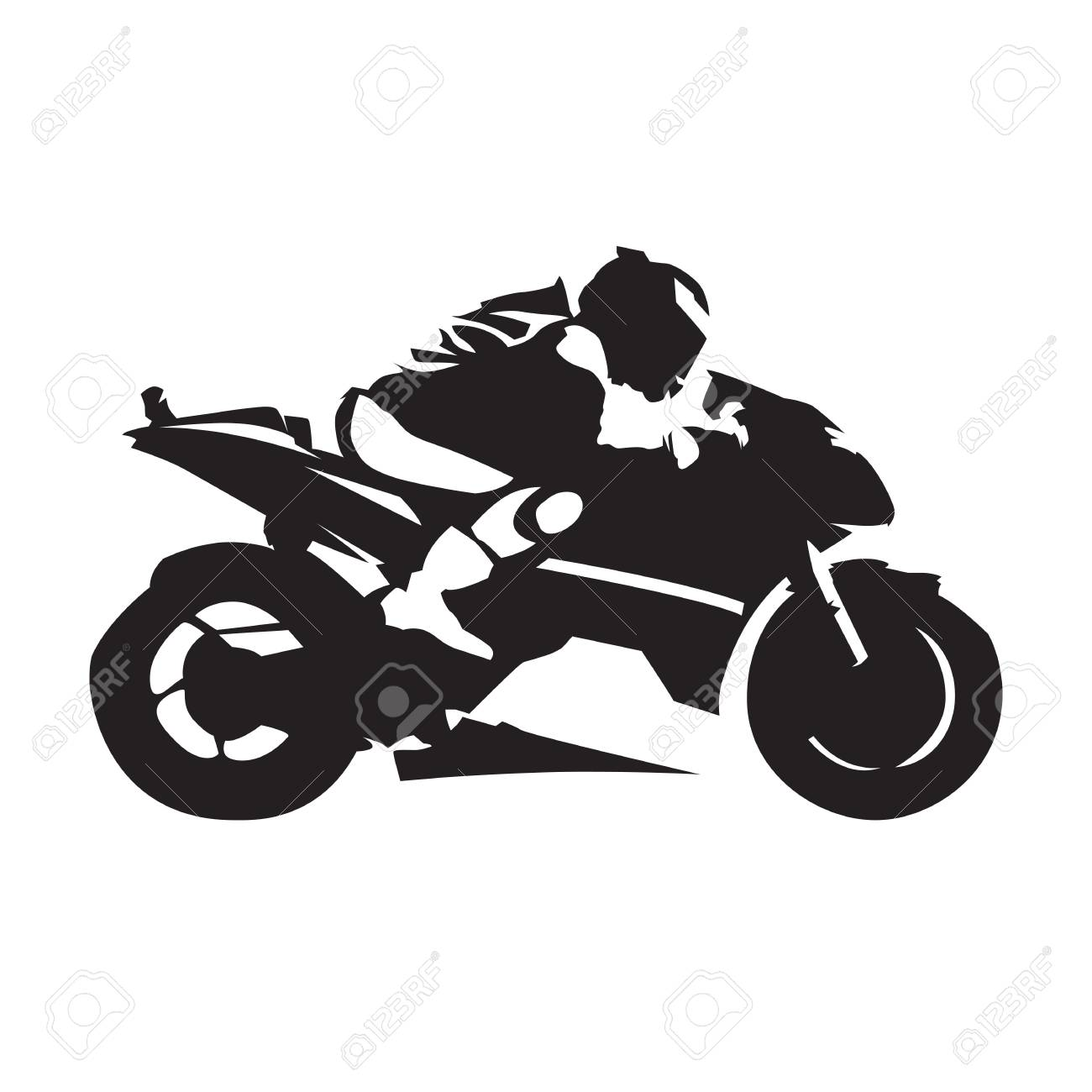 Beautiful Motorcycle Racing, Abstract Vector Silhouette. Side View. Road Motorbike  Stock Vector   95135426