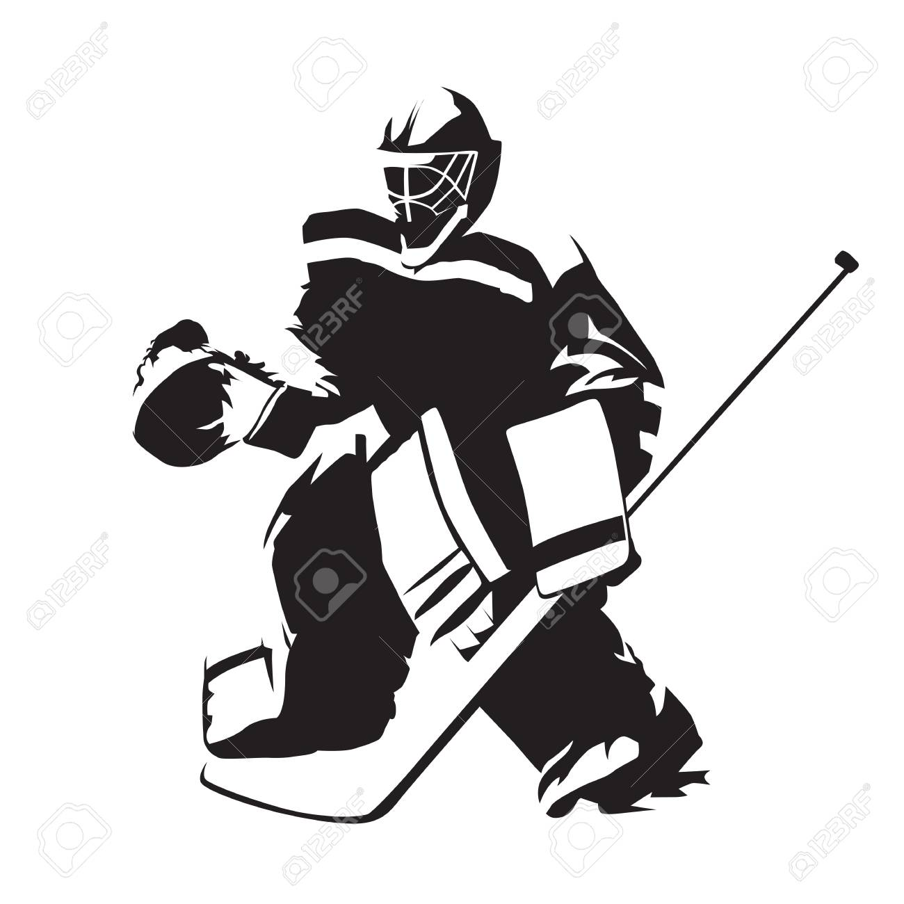 Ice Hockey Goalie Abstract Vector Silhouette Illustration Royalty