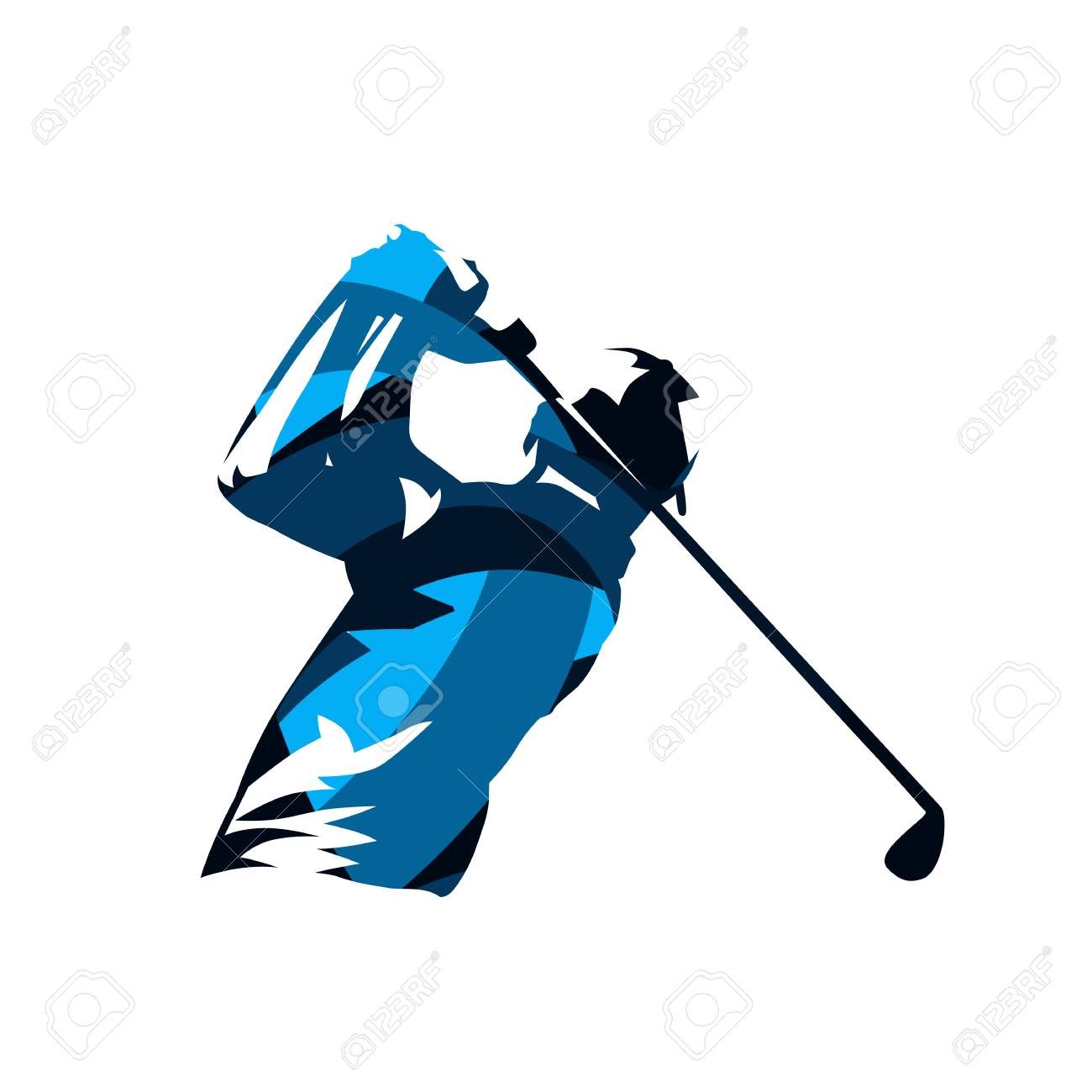 Golf player, abstract blue isolated vector silhouette. Golf swing logo - 110683718