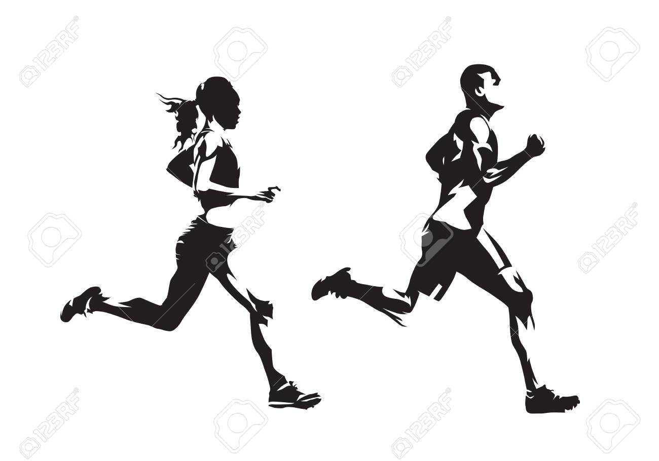 Running man and woman, ink drawings, isolated vector silhouettes. Run, side view - 126374084
