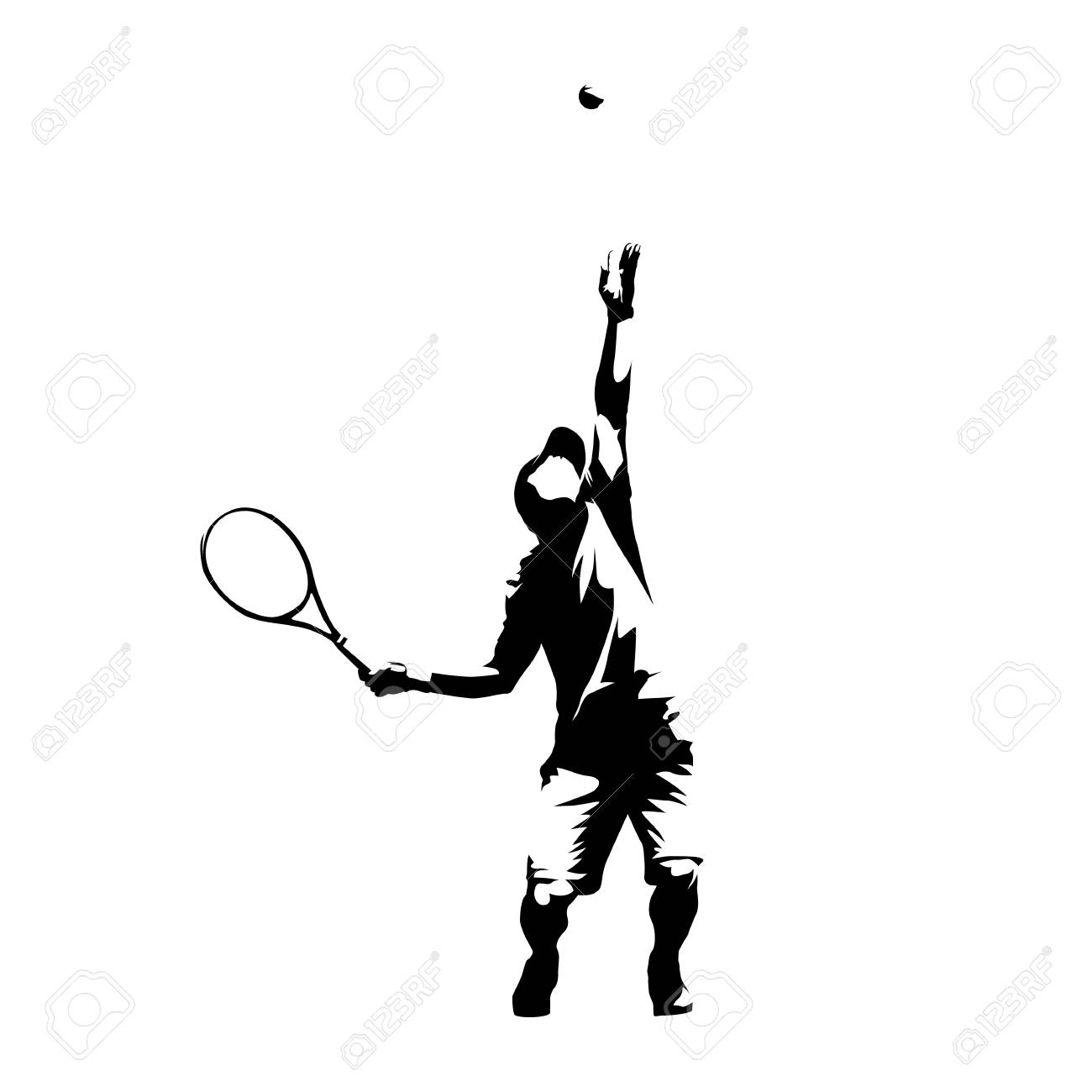 Tennis player serving ball, service, abstract isolated vector silhouette - 120086470
