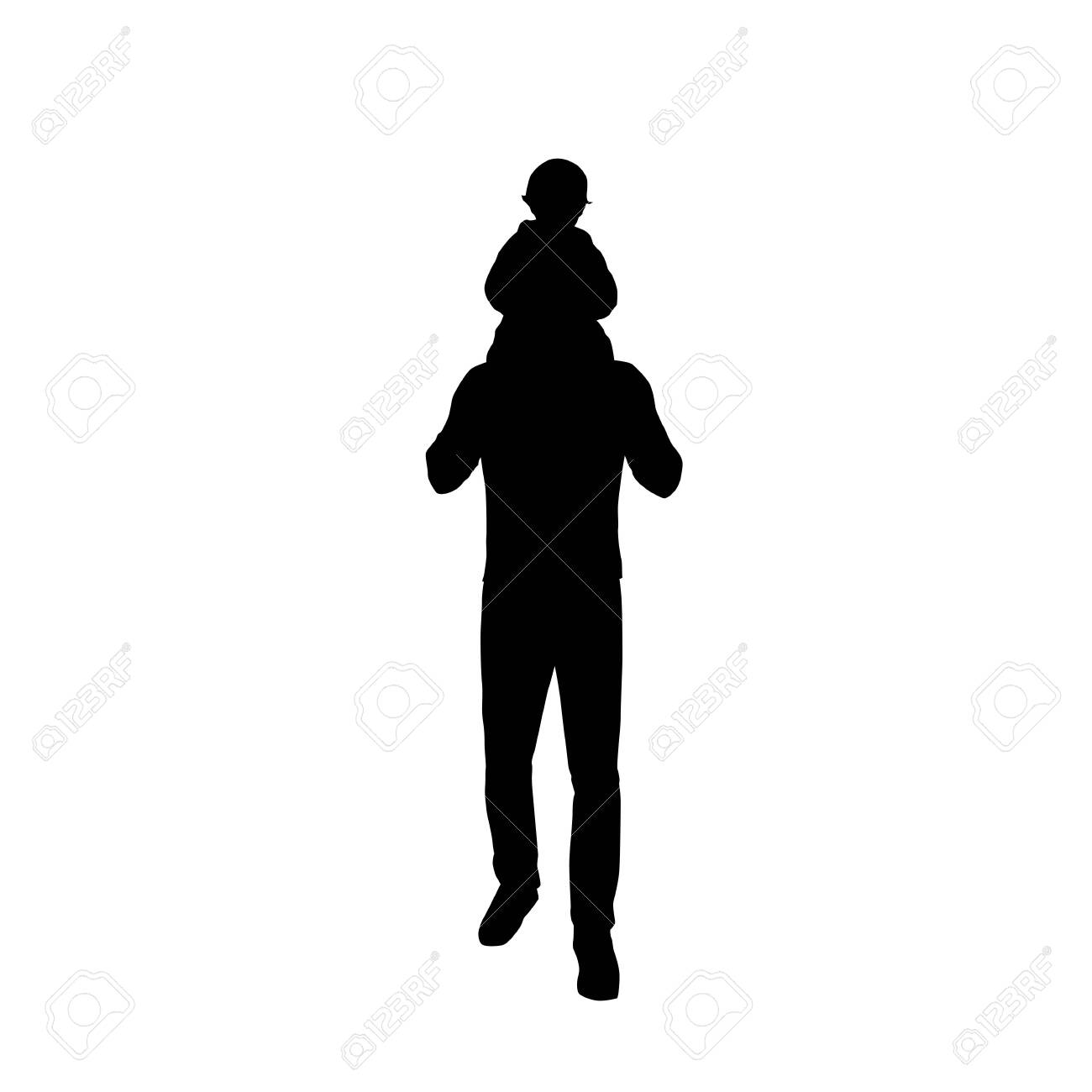 Dad carries a baby on his back, father and kid, isolated vector silhouette - 135426176