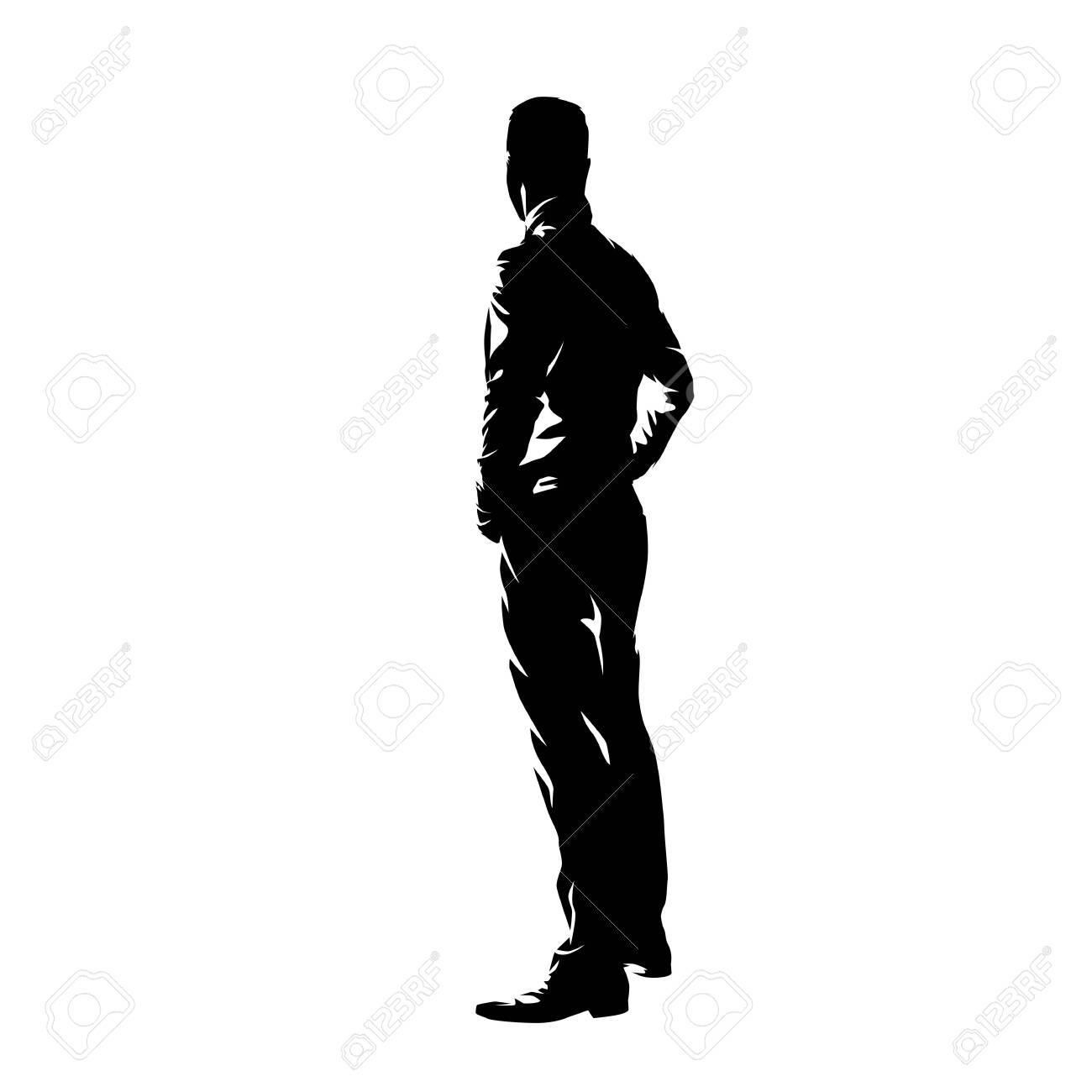 Man Standing With Hands On Hips Side View Profile Ink Drawing Royalty Free Cliparts Vectors And Stock Illustration Image 142950068