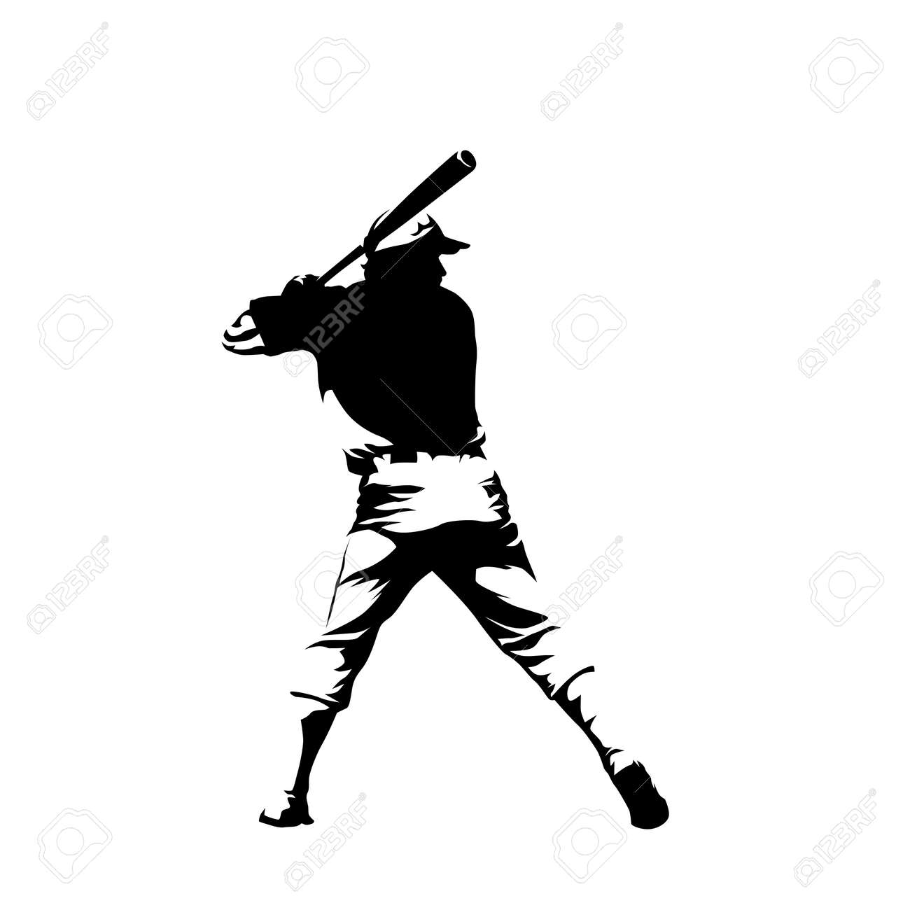 Baseball player, batter isolated vector illustration, ink drawing, rear view. Team sport ahtlete - 159048776