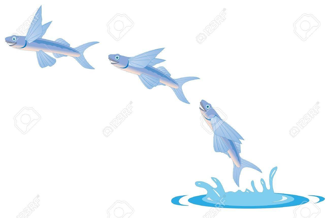 cartoon illustration of a flying fish - 10446700