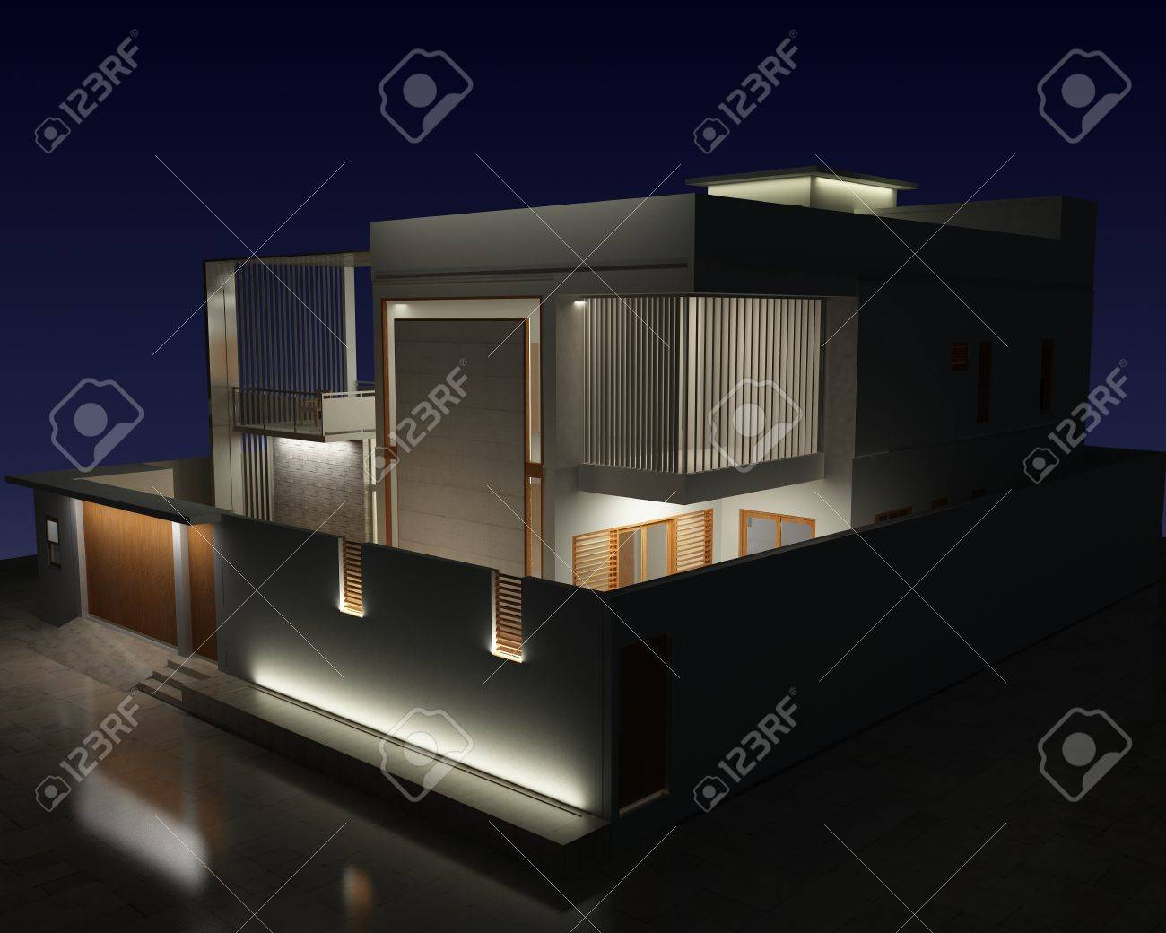 3d night view of a residential exterior architecture - 20302149