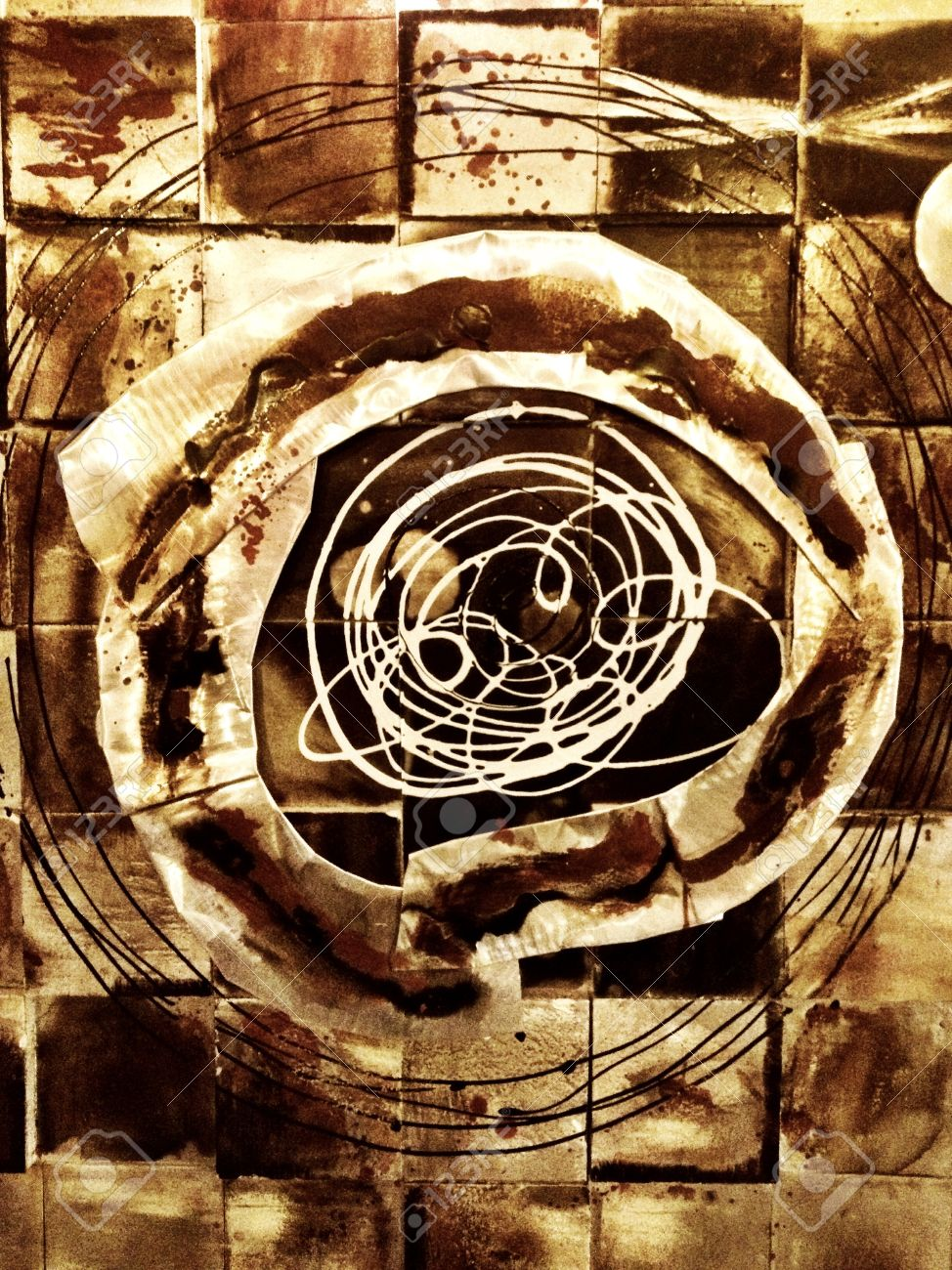abstract art making geometric and organic shapes stock photo