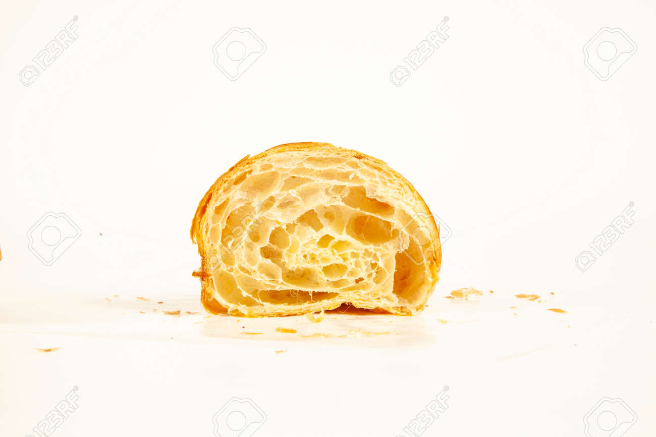 Brioche plain flaky butter croissant crisp and golden in color isolated on white background - 170522150