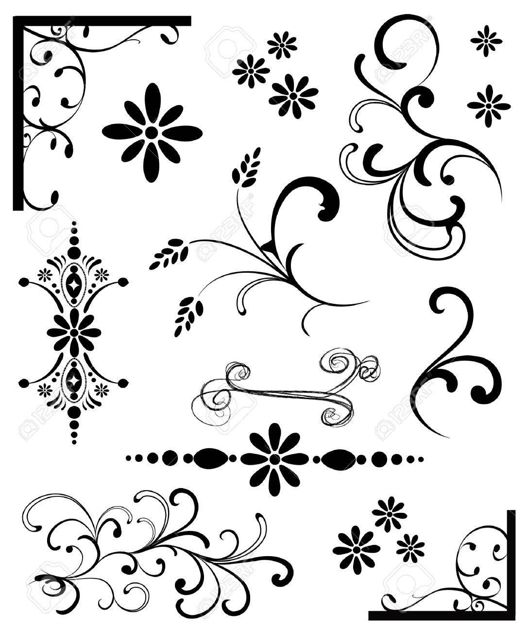 Set of Black Ornaments Stock Vector - 4712778