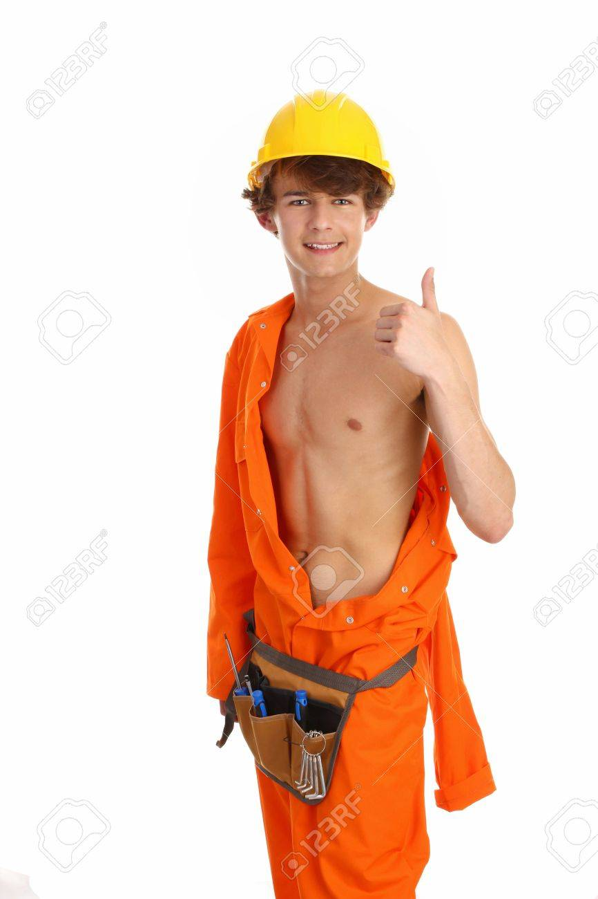 A workman giving a thumbs up sign, that has partly removed his boiler suit standing upright Stock Photo - 10051638
