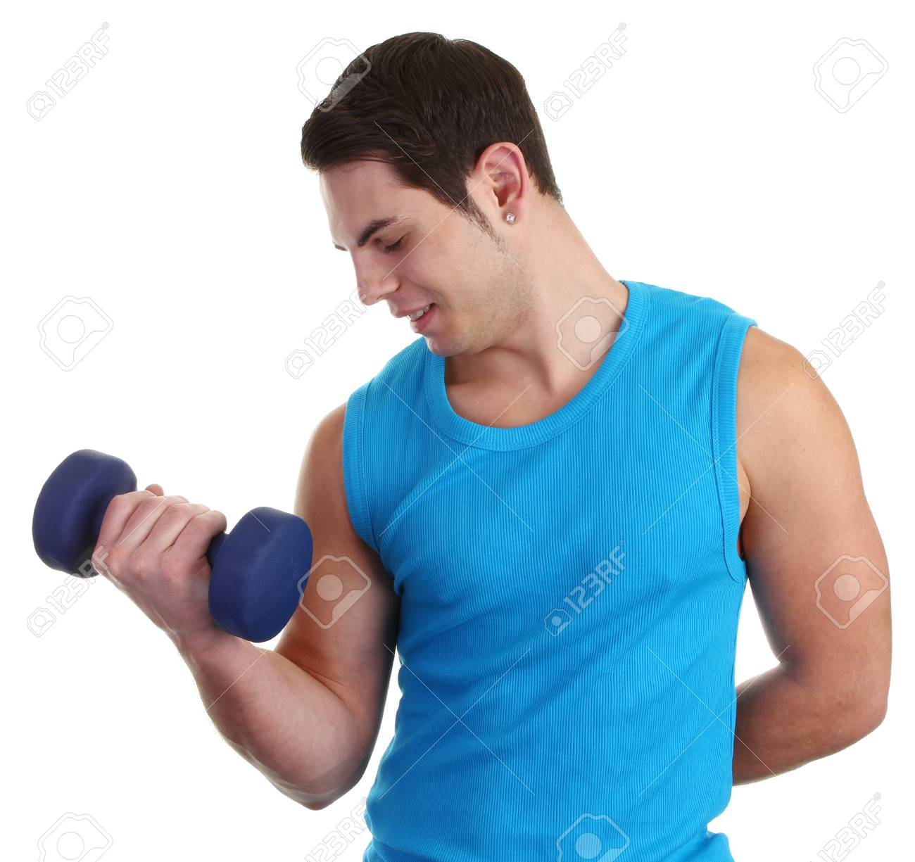 a guy with a dumbell wearing a blue vest Stock Photo - 11135382