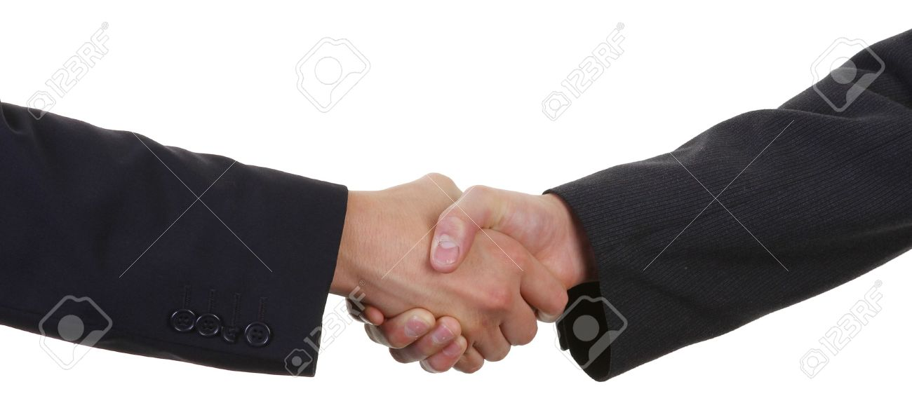 two guys shaking hands wearing suits Stock Photo - 11324073