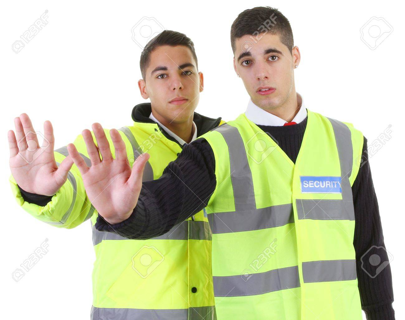 Two security guards with their hands out Stock Photo - 11324083