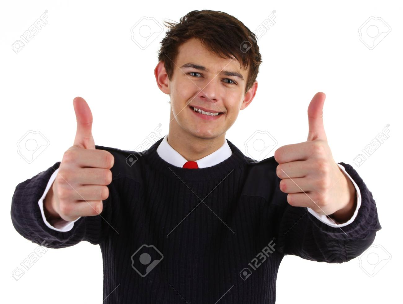 A security guard with a thumbs up sign, isolated on white Stock Photo - 12504222
