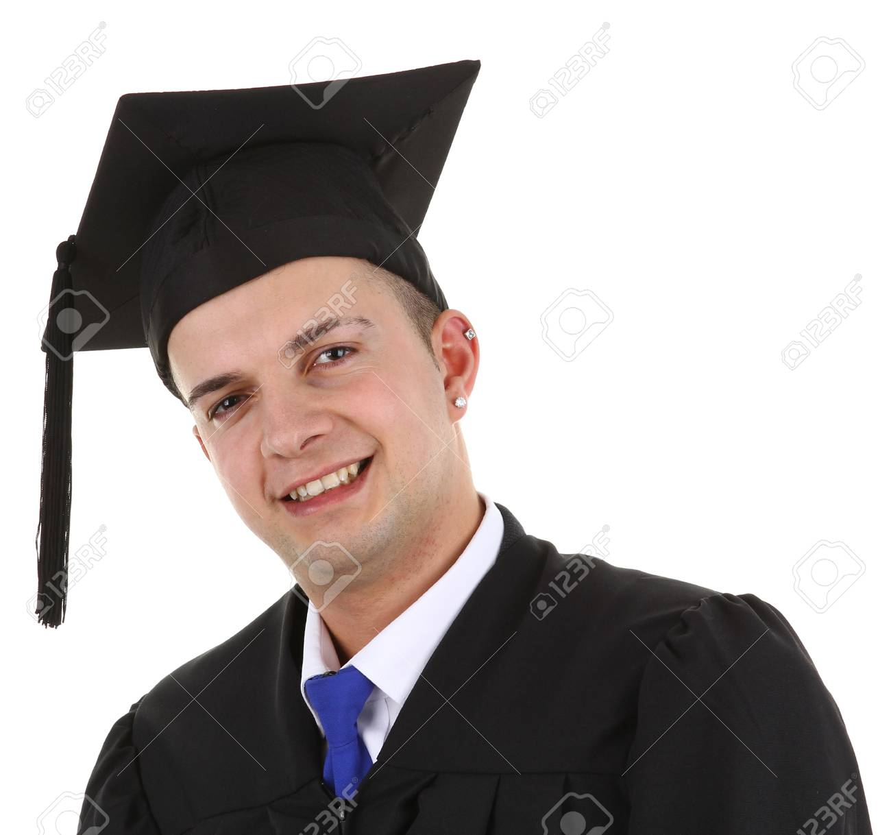 A graduate smiling, isolated on white Stock Photo - 12504301