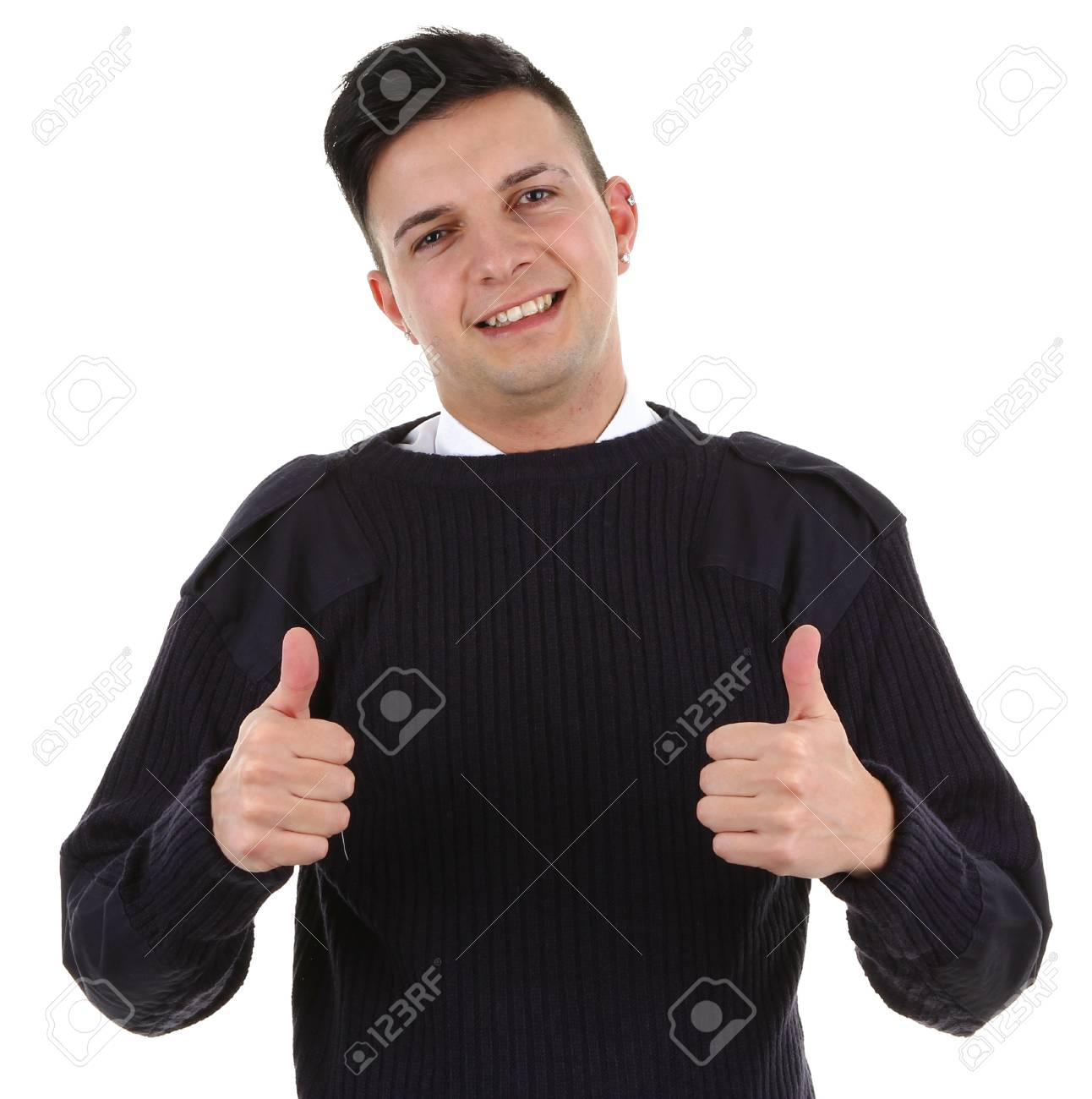 A security guard with a thumbs up sign, isolated on white Stock Photo - 12504333