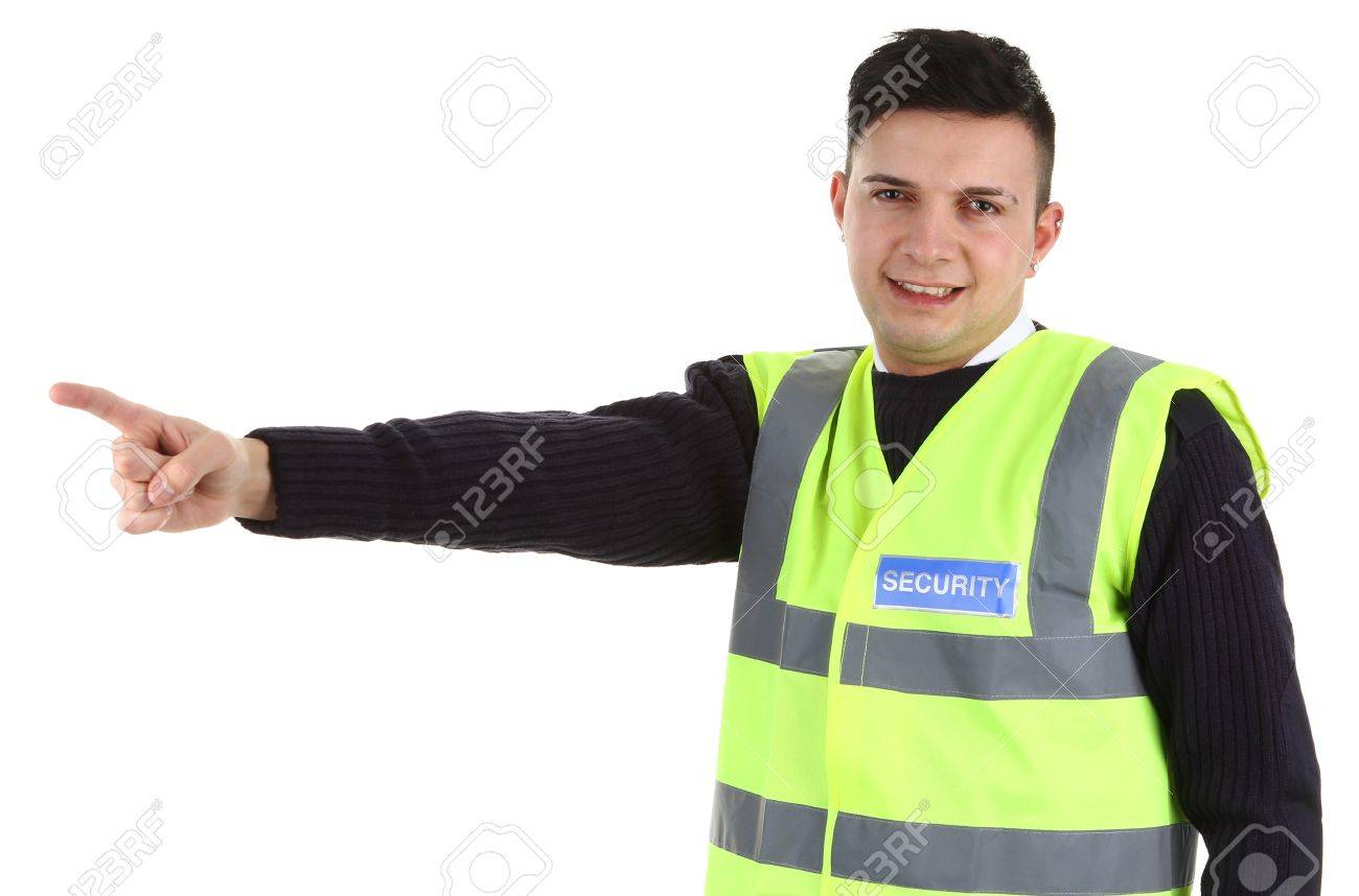 A Security Guard Pointing, Isolated On White Stock Photo, Picture ...