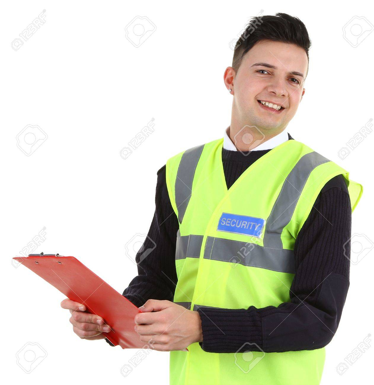 A security guard with a clipboard, isolated on white Stock Photo - 12801572
