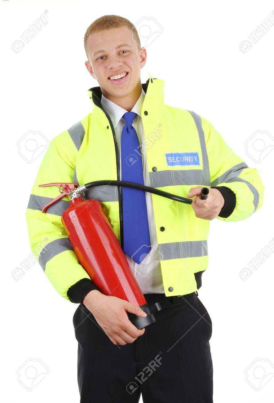 A security guard with a fire extinguisher, isolated on white Stock Photo - 12913867