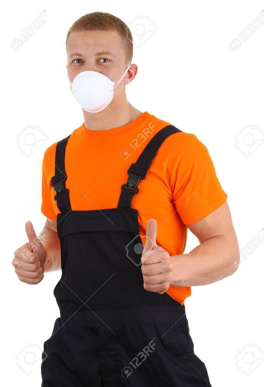 A workman wearing a dusth mask, isolated on white Stock Photo - 13071816