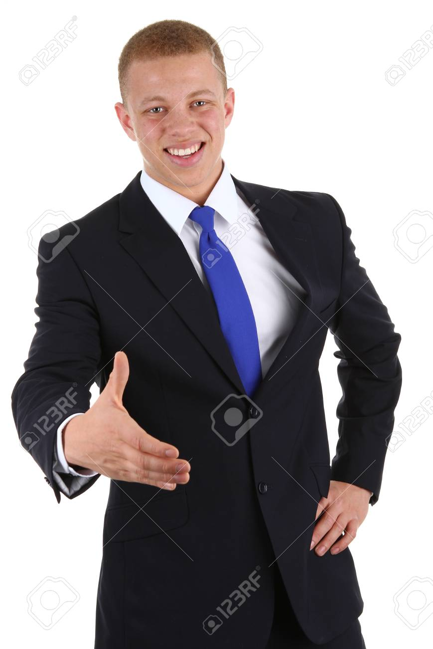 A businessman offering a handshake, isolated on white Stock Photo - 13157273