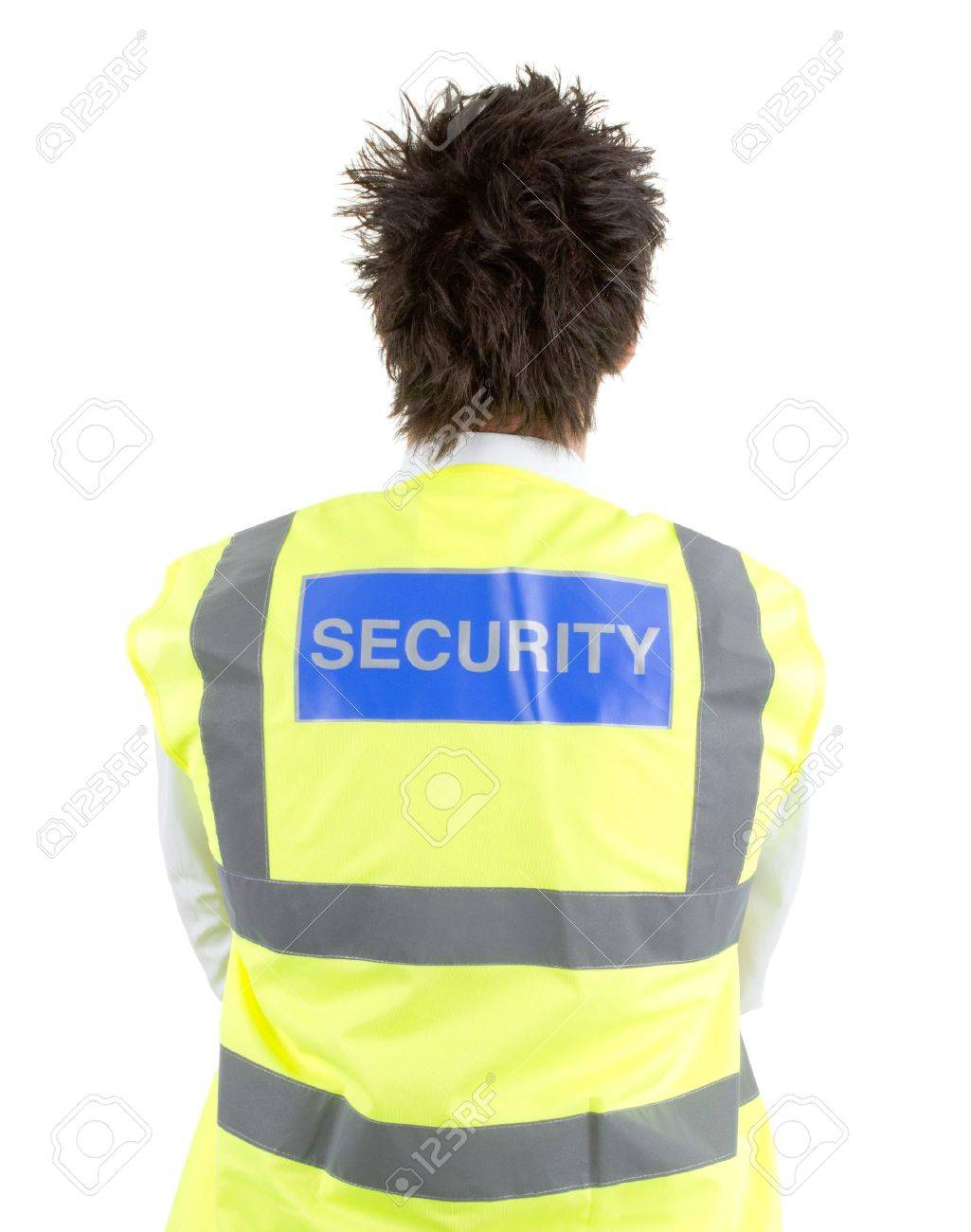 A rear view of a security guard, isolated on white Stock Photo - 14424279