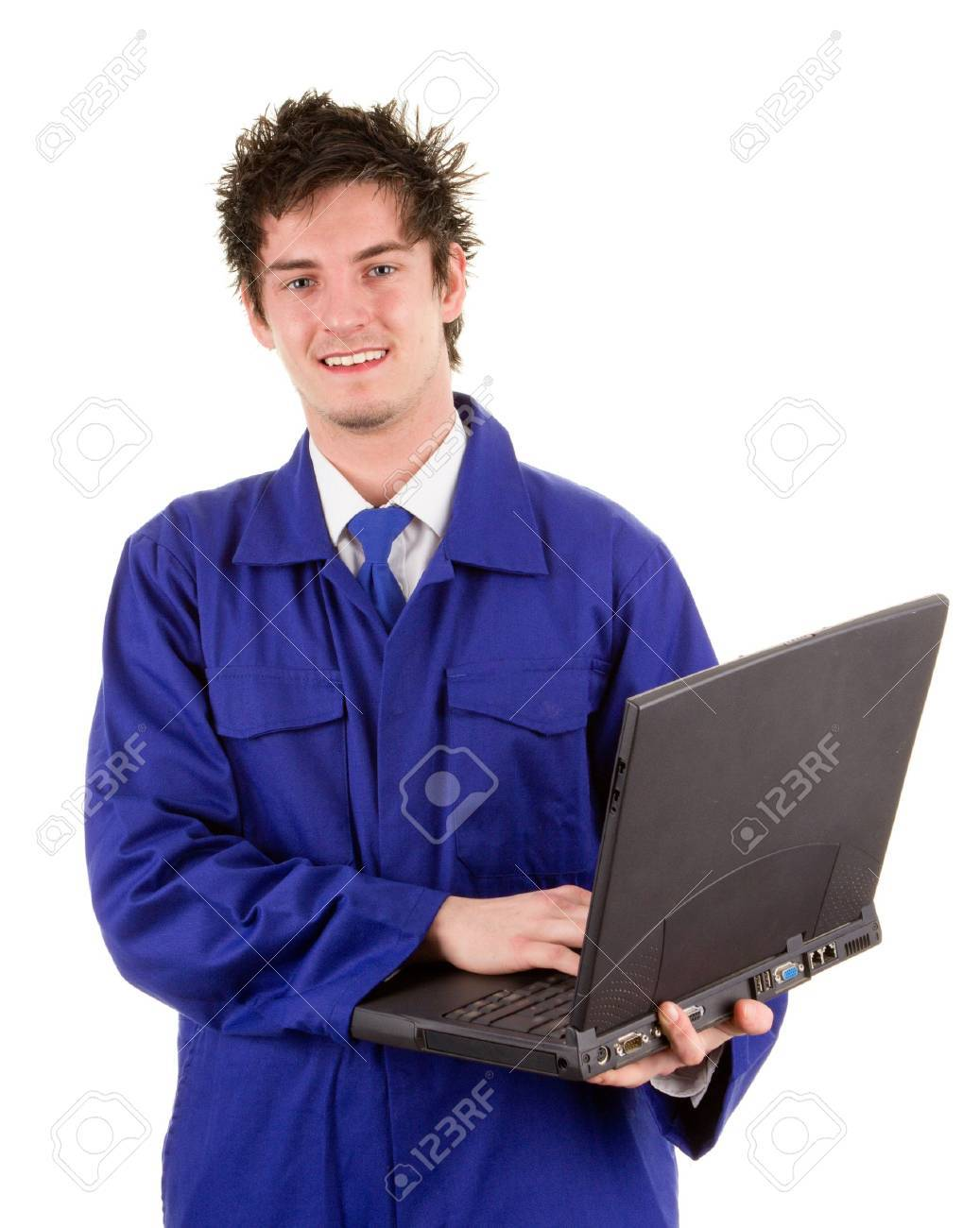 A workman holding a laptop smiling, isolated on white Stock Photo - 14463076