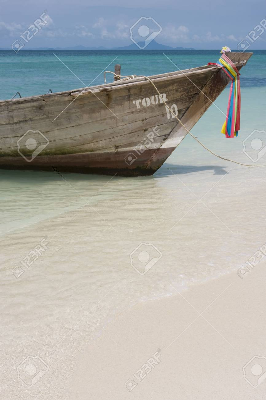 Longtail boat in bright blue water, Koh Poda, Krabi Province, Thailand Stock Photo - 3098405