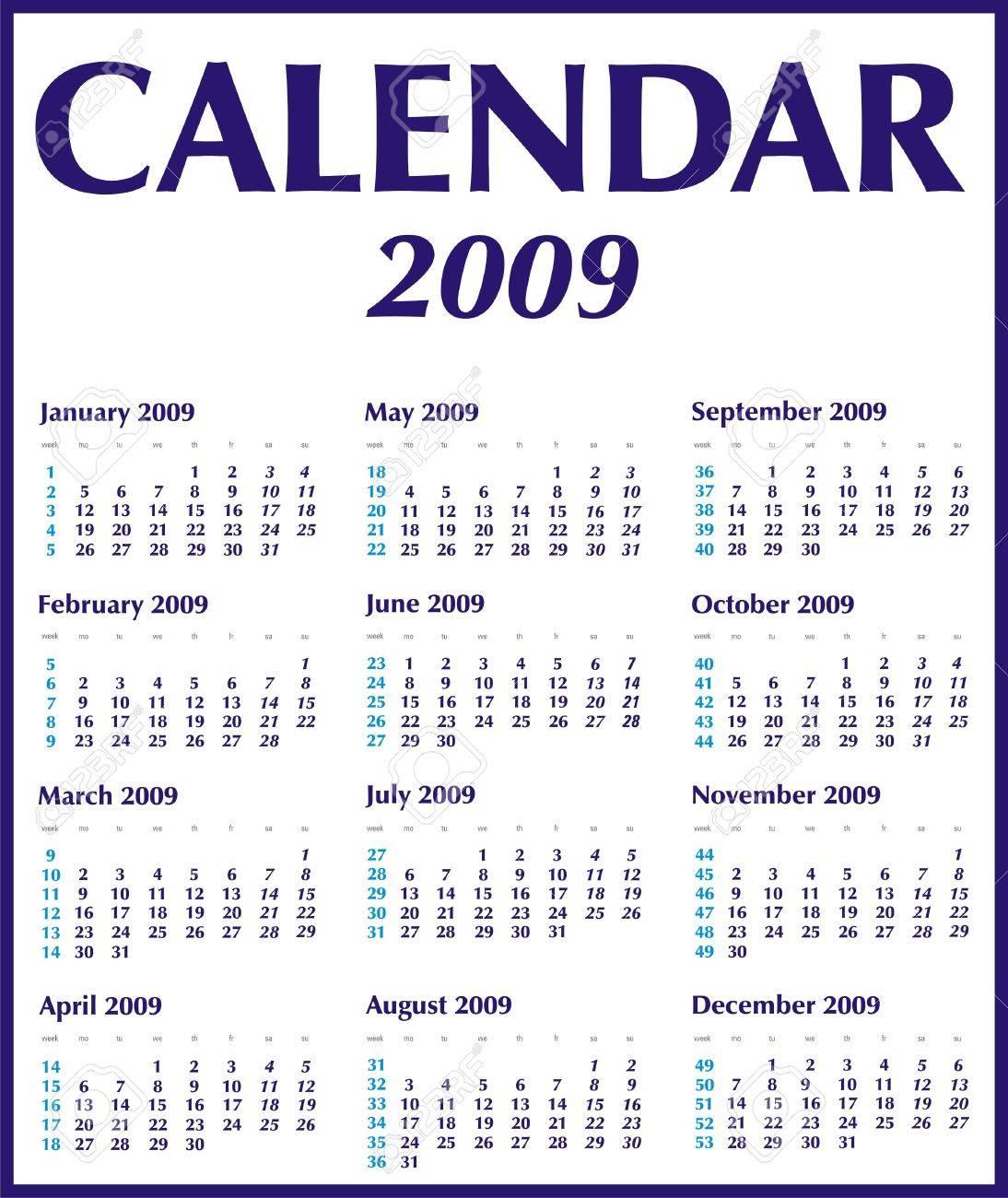Calendario Con Numero Settimane.Calendario 2009 In Blu Con Numeri Settimane