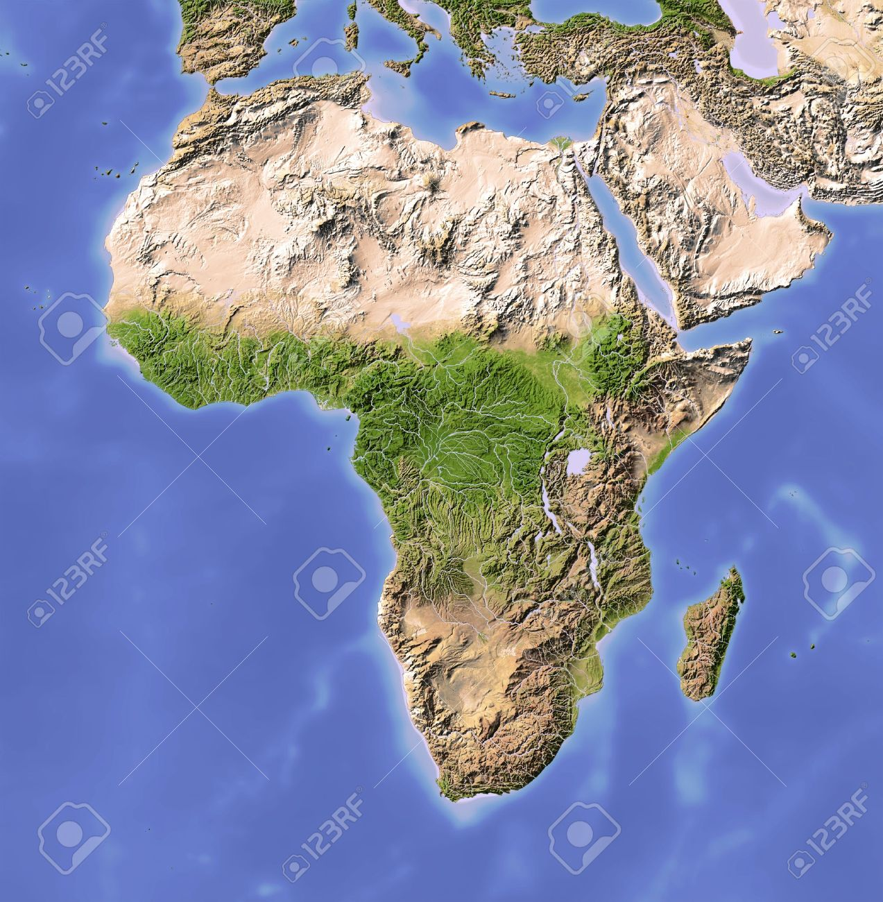 Africa. Shaded relief map. Colored according to vegetation. Projection Mercator